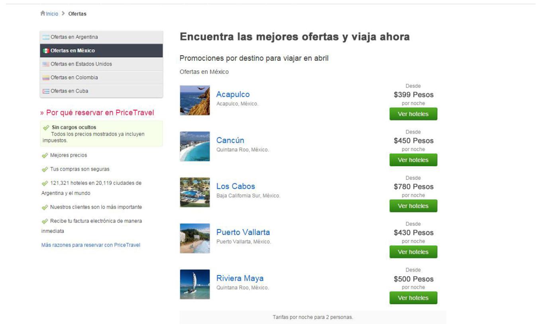 Landing Page B Price Travel